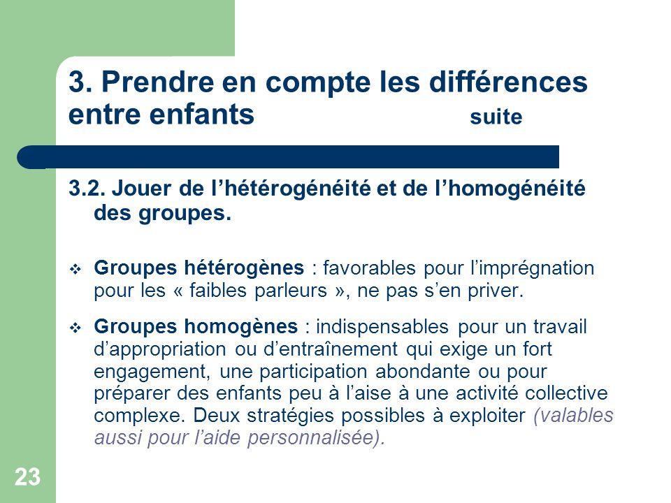 23 3. Prendre en compte les différences entre enfants suite 3.2. Jouer de lhétérogénéité et de lhomogénéité des groupes. Groupes hétérogènes : favorab
