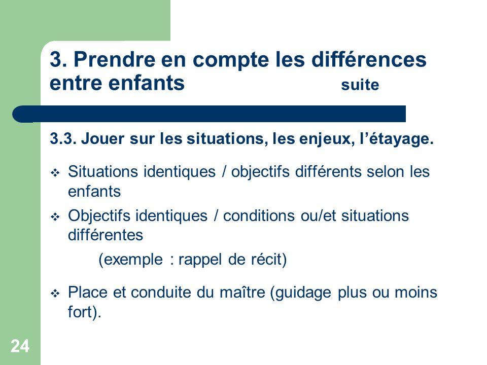 24 3. Prendre en compte les différences entre enfants suite 3.3. Jouer sur les situations, les enjeux, létayage. Situations identiques / objectifs dif