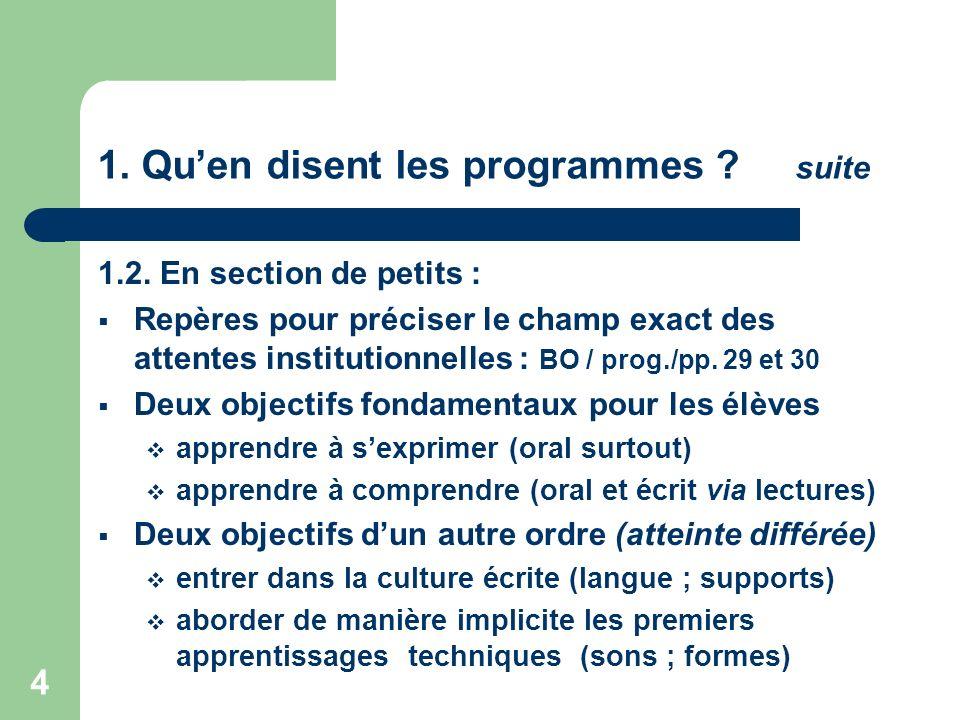 4 1. Quen disent les programmes ? suite 1.2. En section de petits : Repères pour préciser le champ exact des attentes institutionnelles : BO / prog./p