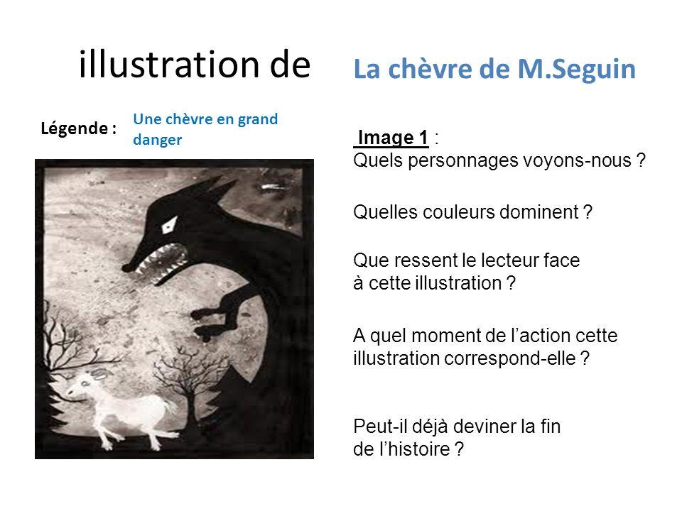 illustration de Légende : La chèvre de M.Seguin Une chèvre en grand danger Image 1 : Quels personnages voyons-nous ? Quelles couleurs dominent ? A que
