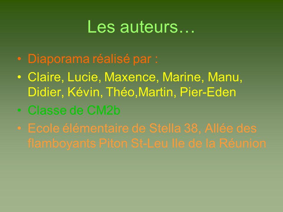 Les auteurs… Diaporama réalisé par : Claire, Lucie, Maxence, Marine, Manu, Didier, Kévin, Théo,Martin, Pier-Eden Classe de CM2b Ecole élémentaire de S