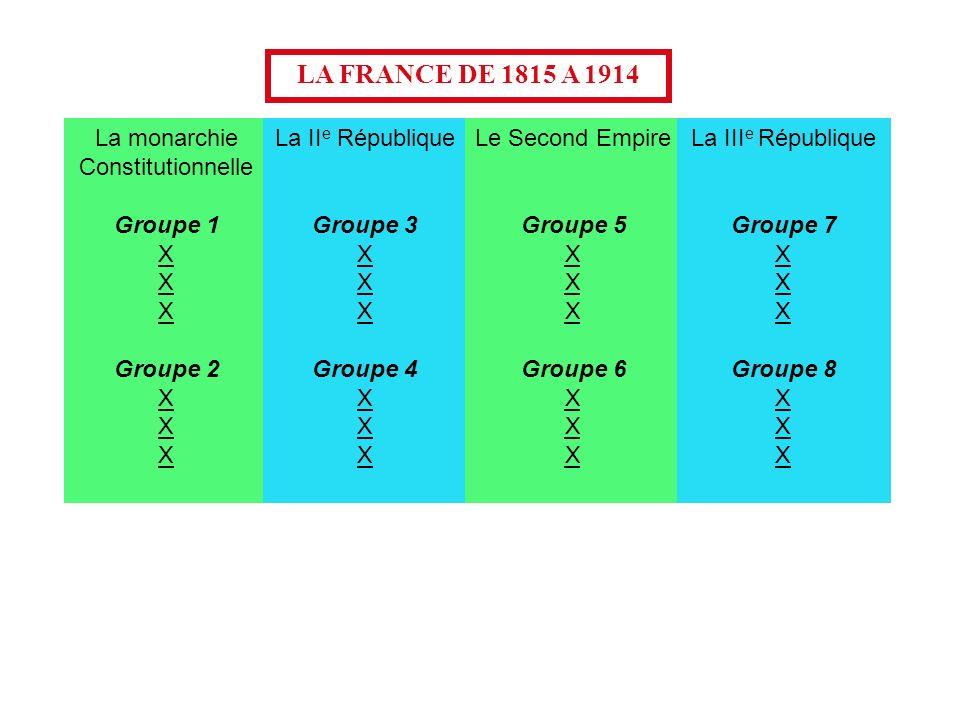 LA FRANCE DE 1815 A 1914 La monarchie Constitutionnelle Groupe 1 X Groupe 2 X La II e République Groupe 3 X Groupe 4 X Le Second Empire Groupe 5 X Gro