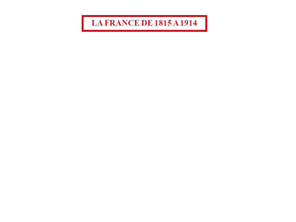 Monarchie constitutionnelle Second Empire 1815 Louis XVIII IIe République 1824 Charles X 1830 Louis-Philippe Napoléon III LA FRANCE DE 1815 A 1914 Troisième République 1848 1852 1870 1914 1815
