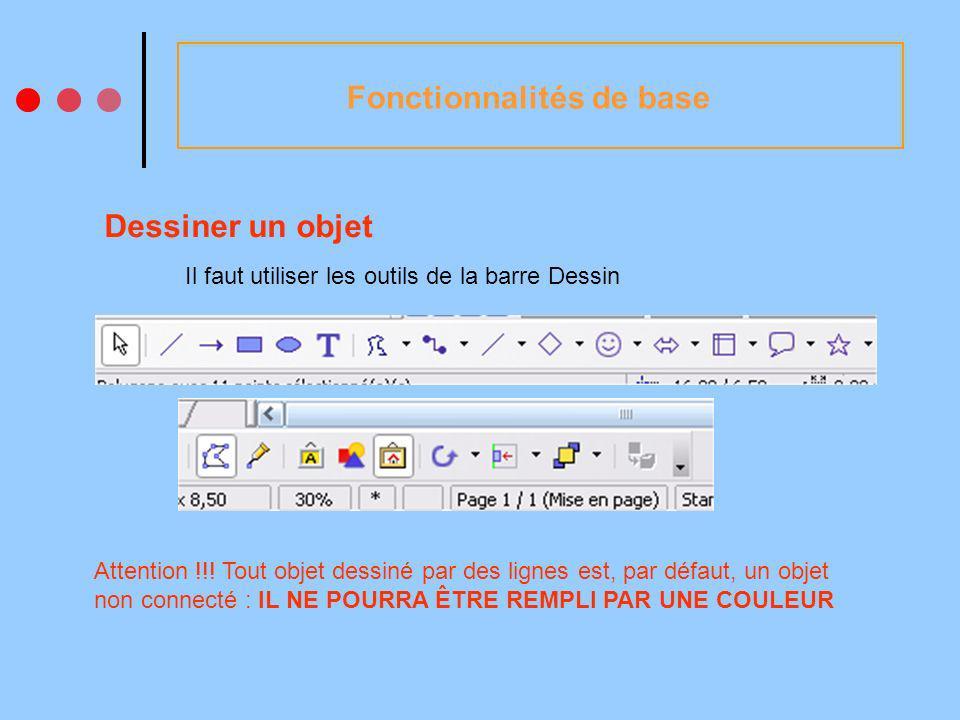 Fonctionnalités de base Dessiner un objet Il faut utiliser les outils de la barre Dessin Attention !!.