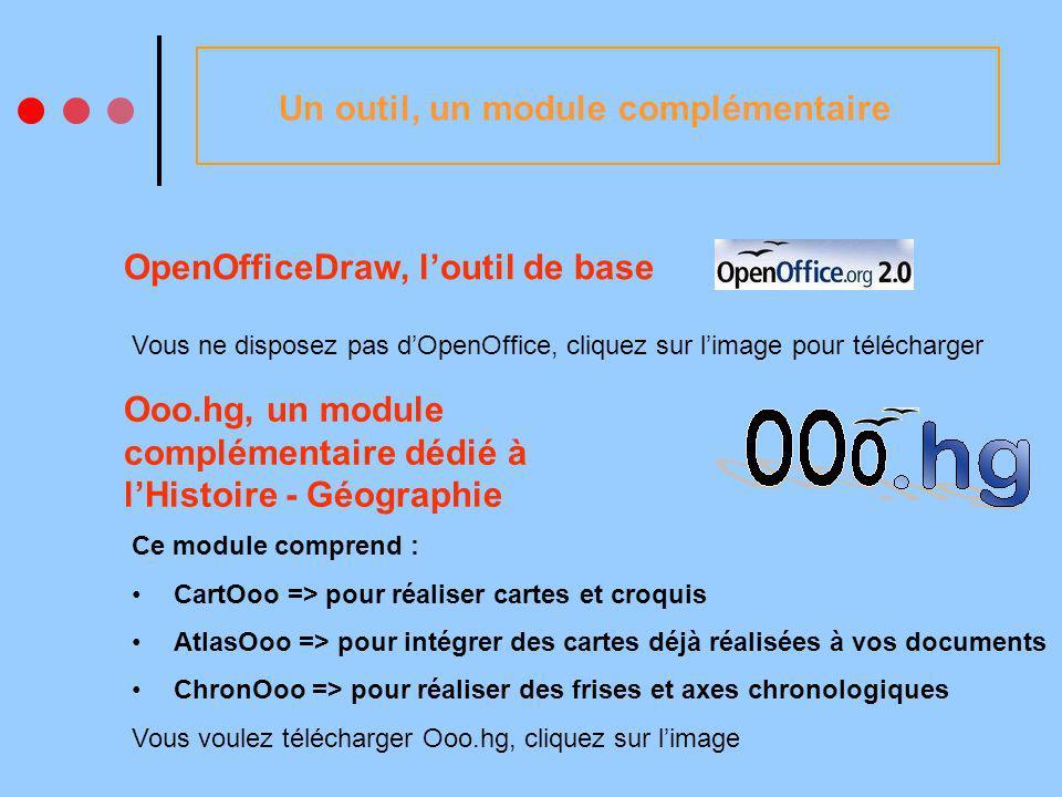 Un outil, un module complémentaire OpenOfficeDraw, loutil de base Vous ne disposez pas dOpenOffice, cliquez sur limage pour télécharger Ooo.hg, un module complémentaire dédié à lHistoire - Géographie Ce module comprend : CartOoo => pour réaliser cartes et croquis AtlasOoo => pour intégrer des cartes déjà réalisées à vos documents ChronOoo => pour réaliser des frises et axes chronologiques Vous voulez télécharger Ooo.hg, cliquez sur limage