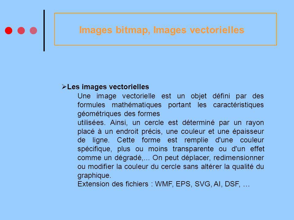 Images bitmap, Images vectorielles Les images vectorielles Une image vectorielle est un objet défini par des formules mathématiques portant les caractéristiques géométriques des formes utilisées.