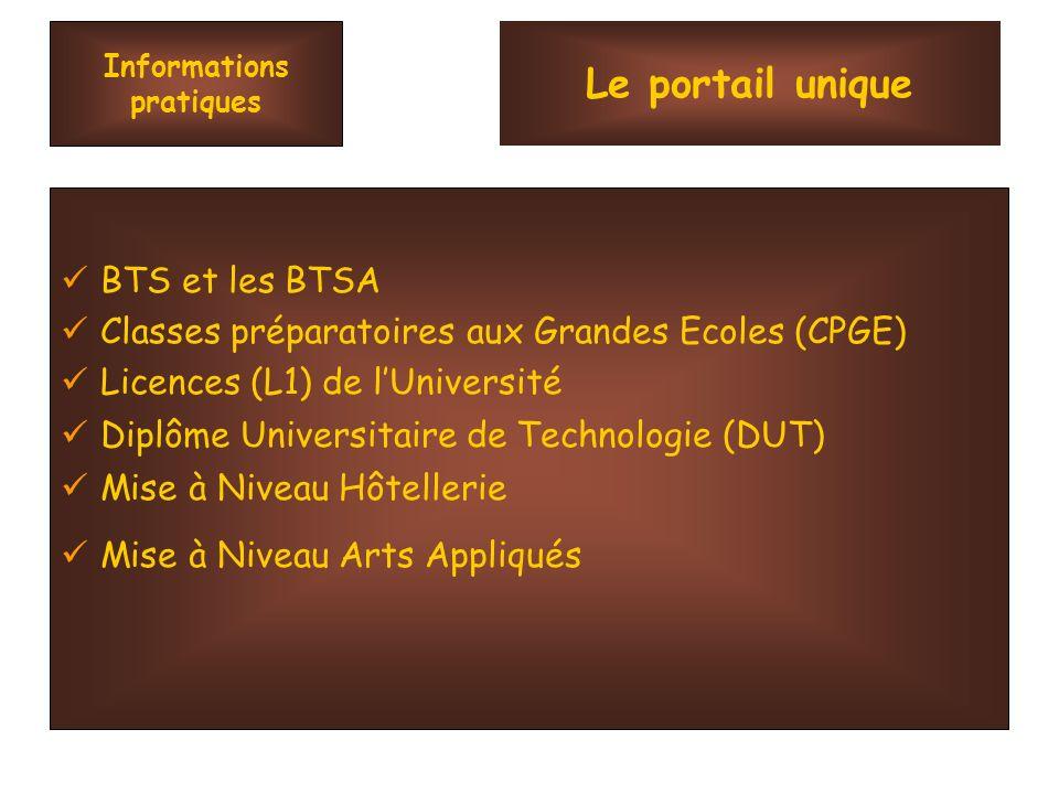 Informations pratiques BTS et les BTSA Classes préparatoires aux Grandes Ecoles (CPGE) Licences (L1) de lUniversité Diplôme Universitaire de Technologie (DUT) Mise à Niveau Hôtellerie Mise à Niveau Arts Appliqués Le portail unique
