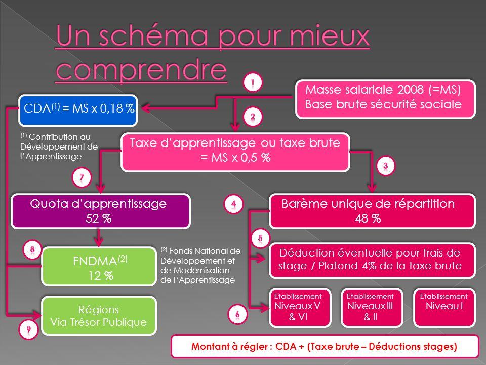 CDA (1) = MS x 0,18 % Masse salariale 2008 (=MS) Base brute sécurité sociale Taxe dapprentissage ou taxe brute = MS x 0,5 % Barème unique de répartition 48 % Quota dapprentissage 52 % Déduction éventuelle pour frais de stage / Plafond 4% de la taxe brute Etablissement Niveaux V & VI Etablissement Niveaux III & II Etablissement Niveau I FNDMA (2) 12 % Régions Via Trésor Publique Montant à régler : CDA + (Taxe brute – Déductions stages) (1) Contribution au Développement de lApprentissage (2) Fonds National de Développement et de Modernisation de lApprentissage