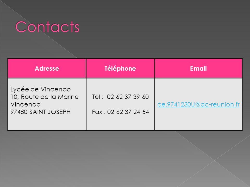 AdresseTéléphoneEmail Lycée de Vincendo 10, Route de la Marine Vincendo 97480 SAINT JOSEPH Tél : 02 62 37 39 60 Fax : 02 62 37 24 54 ce.9741230U@ac-reunion.fr