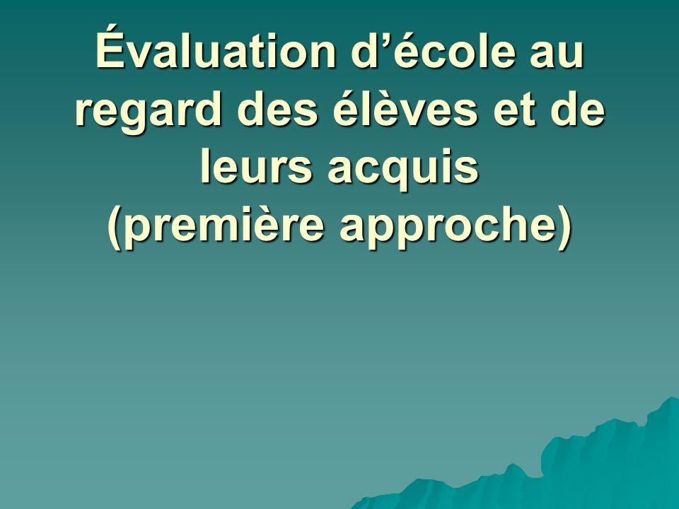Évaluation décole au regard des élèves et de leurs acquis (première approche)