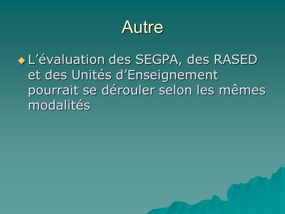 Autre Lévaluation des SEGPA, des RASED et des Unités dEnseignement pourrait se dérouler selon les mêmes modalités Lévaluation des SEGPA, des RASED et