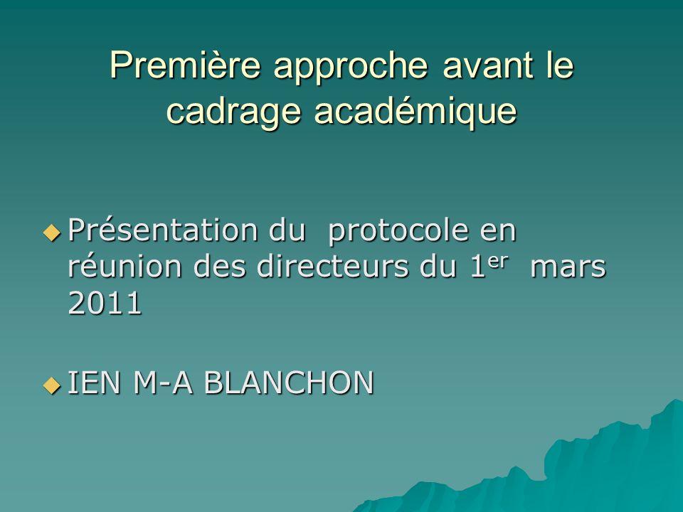 Première approche avant le cadrage académique Présentation du protocole en réunion des directeurs du 1 er mars 2011 Présentation du protocole en réuni