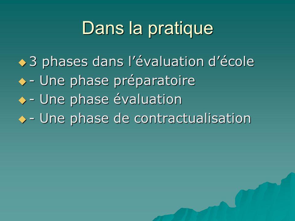 Dans la pratique 3 phases dans lévaluation décole 3 phases dans lévaluation décole - Une phase préparatoire - Une phase préparatoire - Une phase évalu