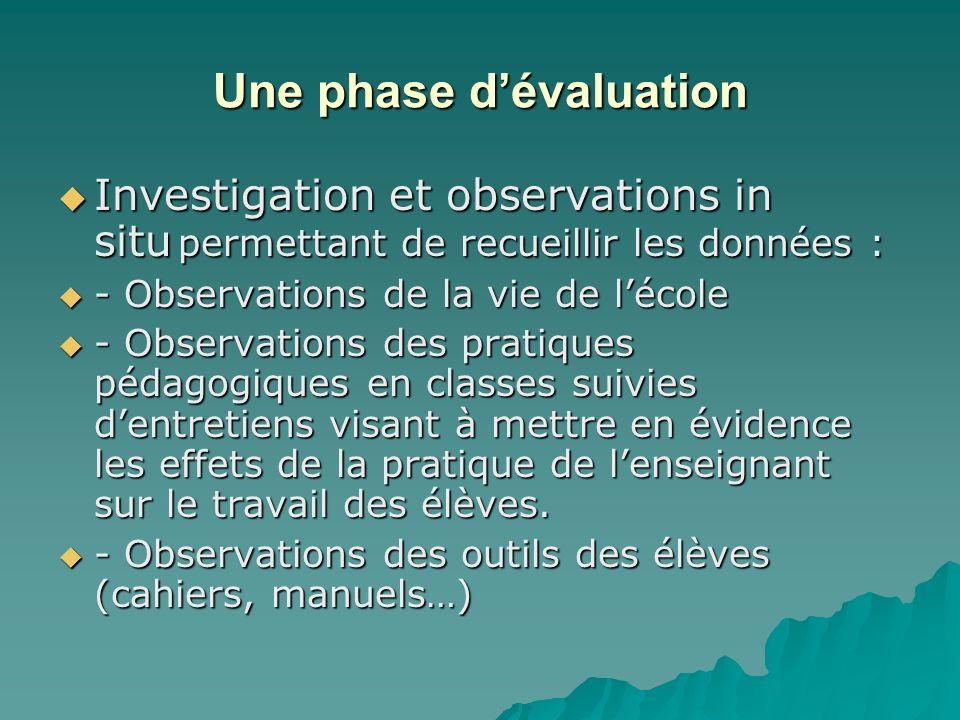 Une phase dévaluation Investigation et observations in situ permettant de recueillir les données : Investigation et observations in situ permettant de