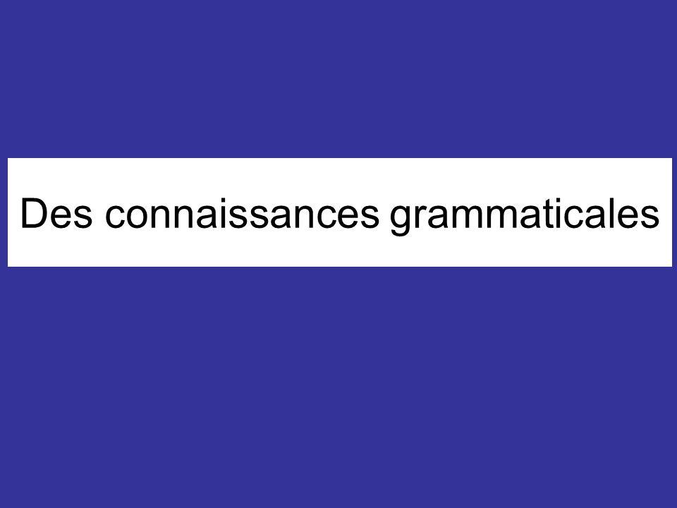 Des connaissances grammaticales