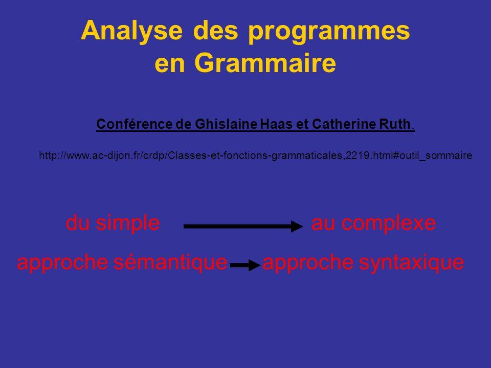 Analyse des programmes en Grammaire Conférence de Ghislaine Haas et Catherine Ruth. http://www.ac-dijon.fr/crdp/Classes-et-fonctions-grammaticales,221