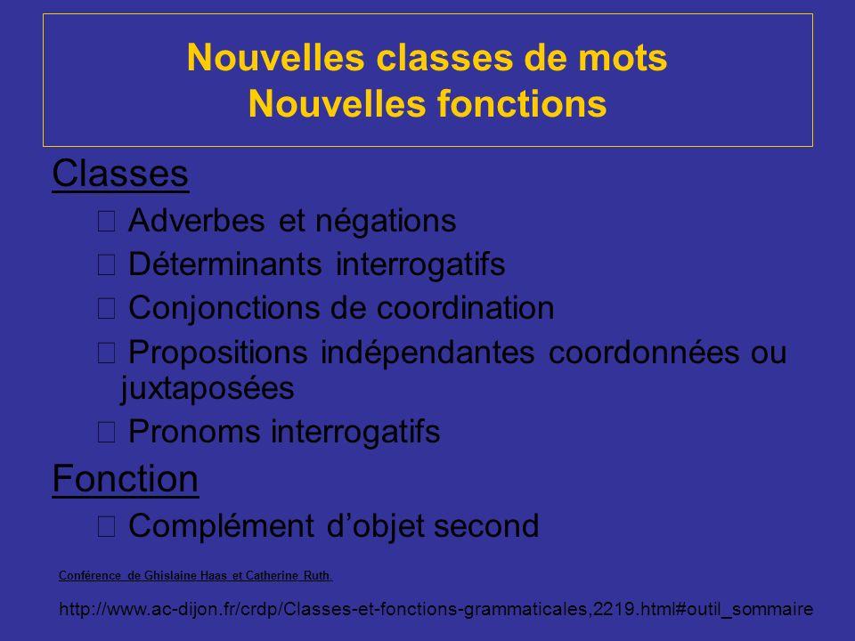 Nouvelles classes de mots Nouvelles fonctions Classes Adverbes et négations Déterminants interrogatifs Conjonctions de coordination Propositions indép