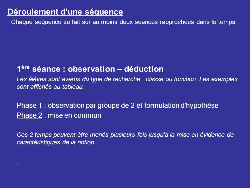 Déroulement d'une séquence Chaque séquence se fait sur au moins deux séances rapprochées dans le temps. 1 ère séance : observation – déduction Les élè