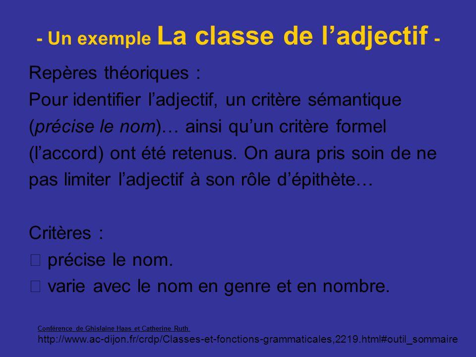 - Un exemple La classe de ladjectif - Repères théoriques : Pour identifier ladjectif, un critère sémantique (précise le nom)… ainsi quun critère forme