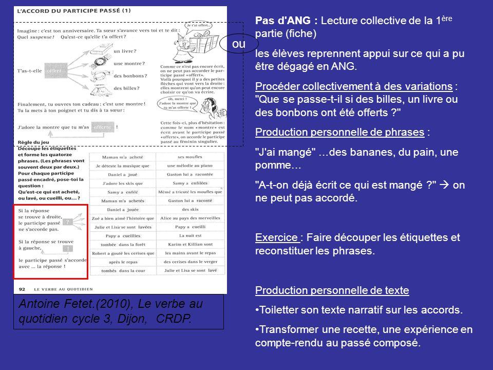 Pas d'ANG : Lecture collective de la 1 ère partie (fiche) les élèves reprennent appui sur ce qui a pu être dégagé en ANG. Procéder collectivement à de