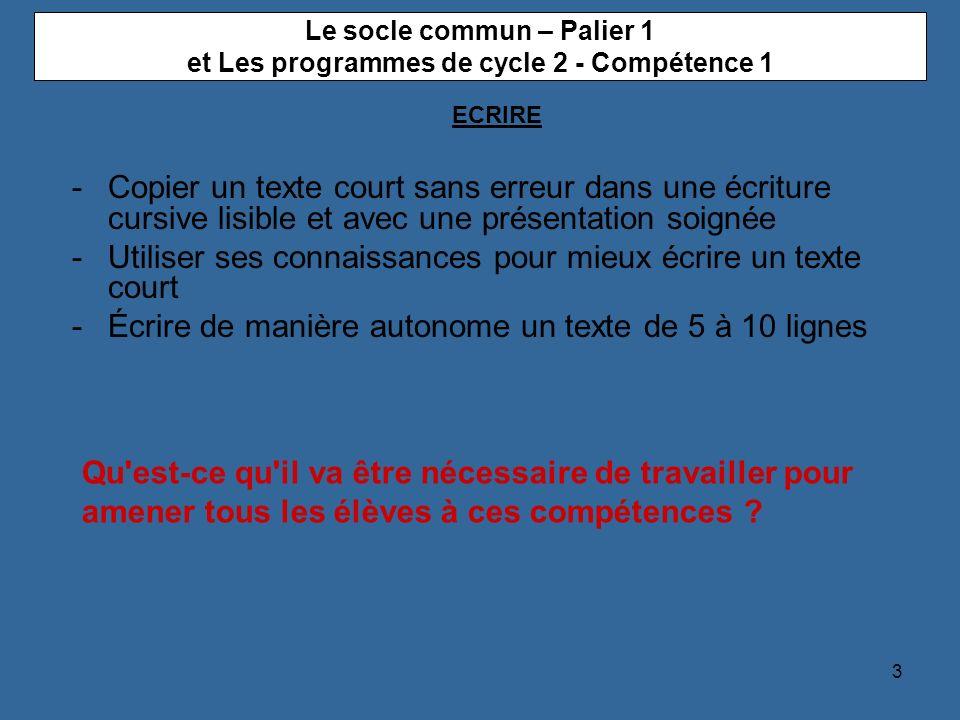 3 Le socle commun – Palier 1 et Les programmes de cycle 2 - Compétence 1 -Copier un texte court sans erreur dans une écriture cursive lisible et avec