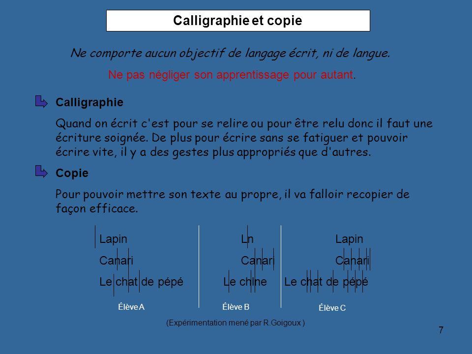 7 Calligraphie et copie Calligraphie Quand on écrit c'est pour se relire ou pour être relu donc il faut une écriture soignée. De plus pour écrire sans