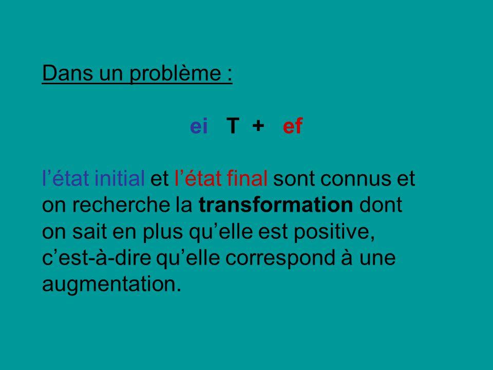 Dans un problème : ei T + ef létat initial et létat final sont connus et on recherche la transformation dont on sait en plus quelle est positive, cest