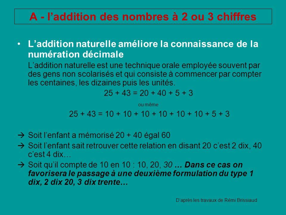 A - laddition des nombres à 2 ou 3 chiffres Laddition naturelle améliore la connaissance de la numération décimale Laddition naturelle est une techniq