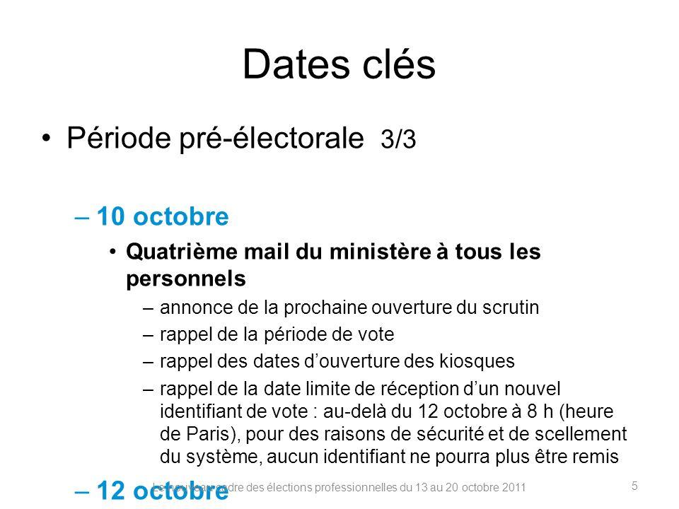 Dates clés Période de vote 1/2 13 octobre Ouverture des scrutins à 10 h, heure de Paris –ouverture de lassistance téléphonique aux électeurs (horaires précisés sur education.gouv.fr/electionspro2011 et sur les sites académiques) –14, 18 et 20 octobre Ouverture des kiosques de vote –kiosques de vote à la disposition des électeurs sur les lieux de travail (lieux et horaires précisés sur les sites académiques) –à la Réunion, les kiosques sont ouverts les 17,18 et 20 octobre –à Mayotte et en Guyane, les kiosques sont ouverts durant toute la période de vote du 13 au 20 octobre Le nouveau cadre des élections professionnelles du 13 au 20 octobre 2011 6