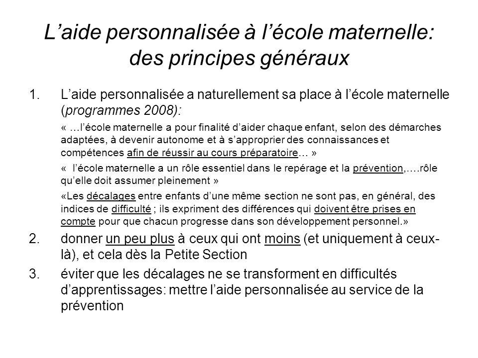 Laide personnalisée à lécole maternelle: des principes généraux 1.Laide personnalisée a naturellement sa place à lécole maternelle (programmes 2008):