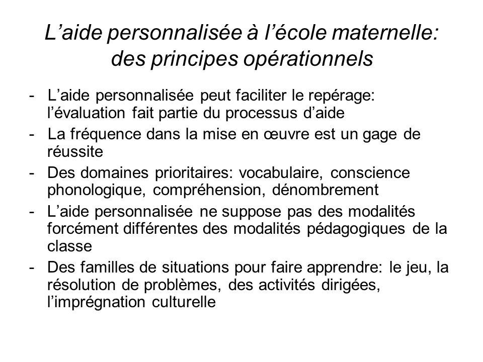 Laide personnalisée à lécole maternelle: des principes opérationnels - Laide personnalisée peut faciliter le repérage: lévaluation fait partie du proc