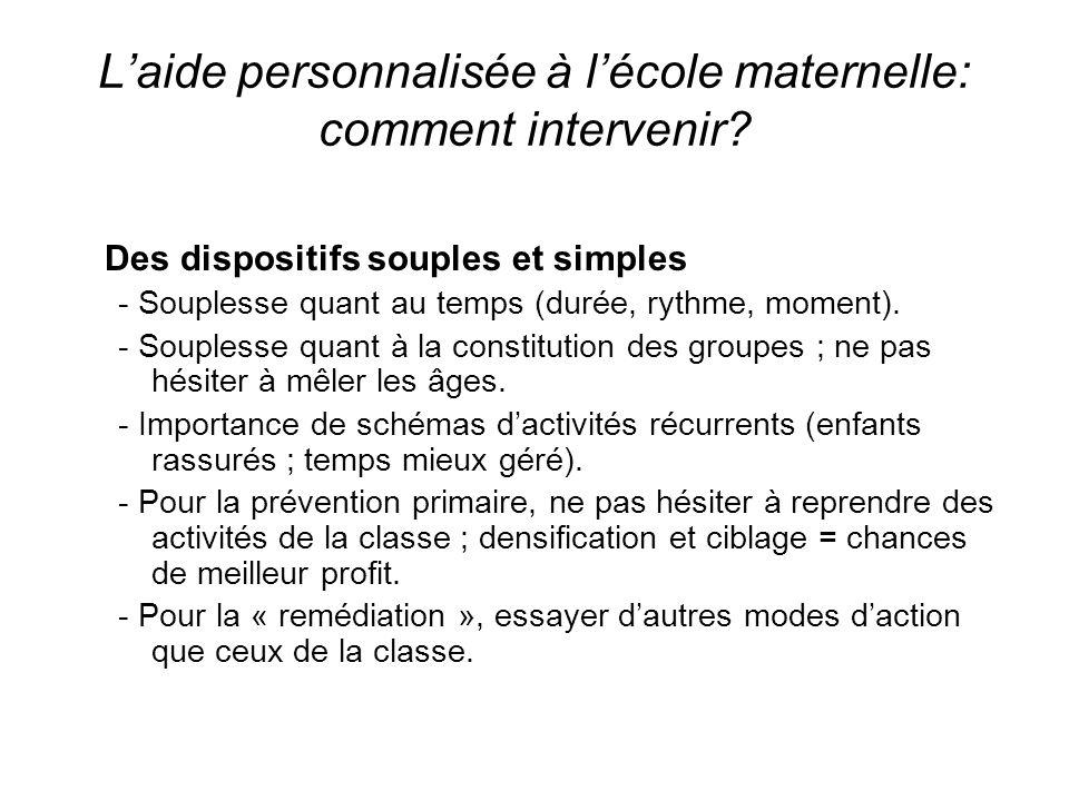 Laide personnalisée à lécole maternelle: comment intervenir? Des dispositifs souples et simples - Souplesse quant au temps (durée, rythme, moment). -