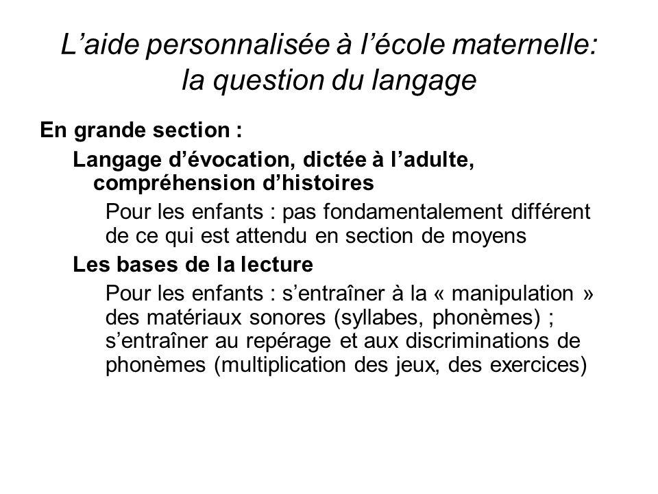 Laide personnalisée à lécole maternelle: la question du langage En grande section : Langage dévocation, dictée à ladulte, compréhension dhistoires Pou