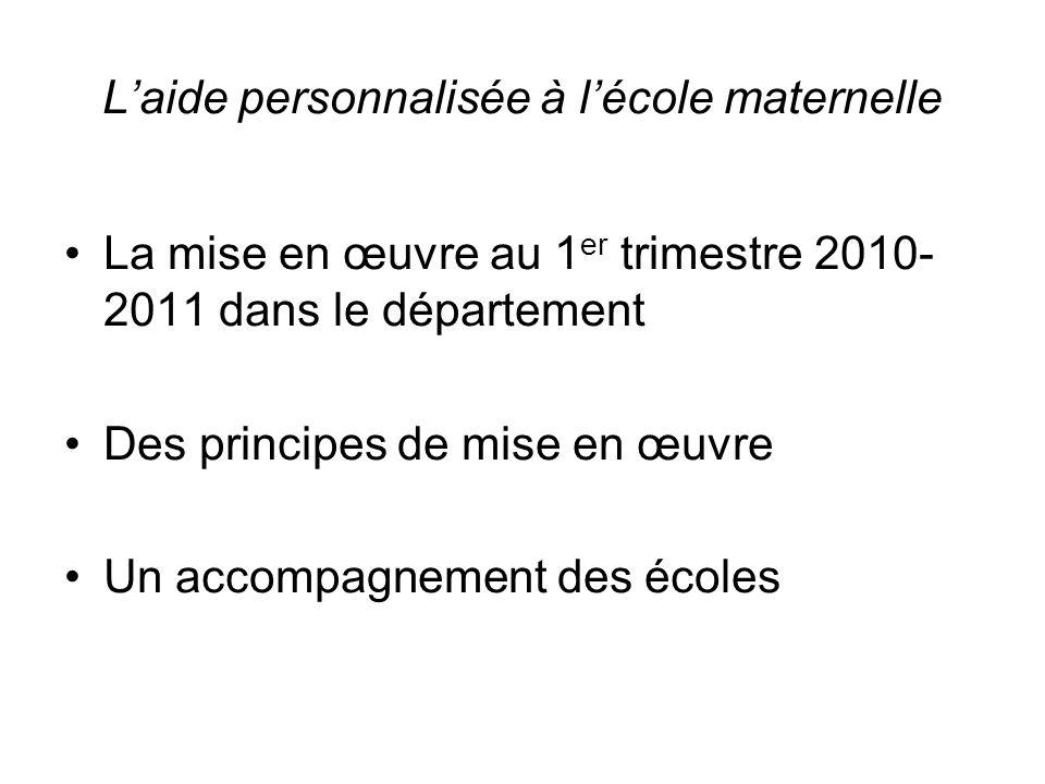 Laide personnalisée à lécole maternelle La mise en œuvre au 1 er trimestre 2010- 2011 dans le département Des principes de mise en œuvre Un accompagnement des écoles