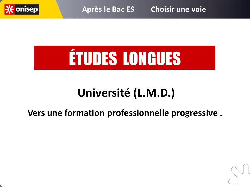 Université (L.M.D.) Vers une formation professionnelle progressive. ÉTUDES LONGUES Après le Bac ES Choisir une voie