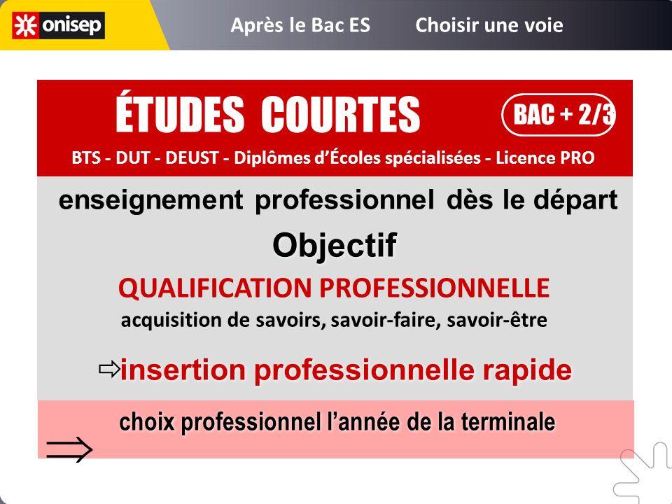 ÉTUDES COURTES BAC + 2/3 BTS - DUT - DEUST - Diplômes dÉcoles spécialisées - Licence PRO enseignement professionnel dès le départ QUALIFICATION PROFES