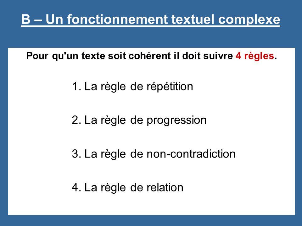 Pour qu'un texte soit cohérent il doit suivre 4 règles. 1.La règle de répétition 2.La règle de progression 3.La règle de non-contradiction 4.La règle