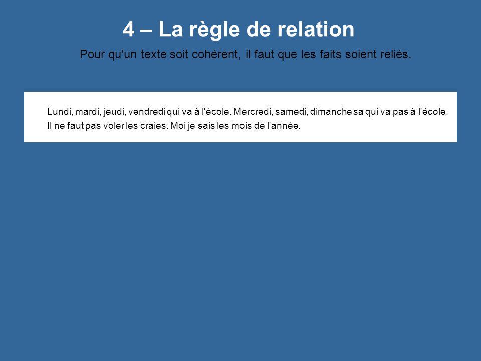 4 – La règle de relation Pour qu'un texte soit cohérent, il faut que les faits soient reliés. Lundi, mardi, jeudi, vendredi qui va à l'école. Mercredi