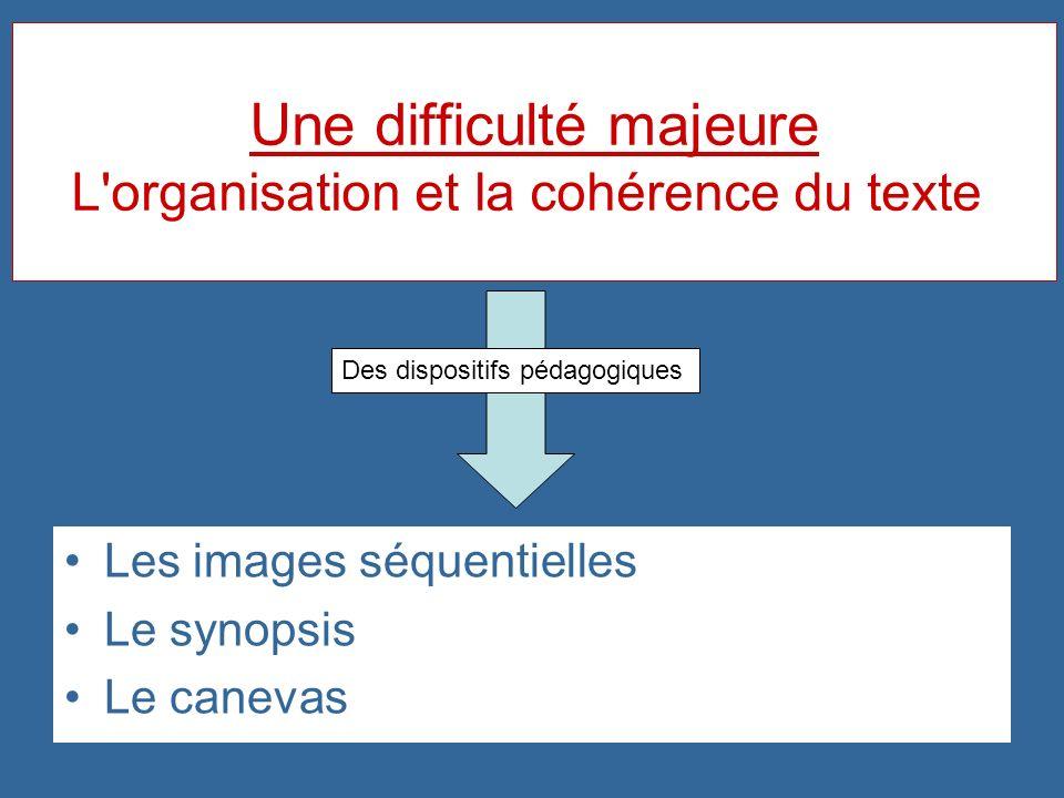 Une difficulté majeure L'organisation et la cohérence du texte Les images séquentielles Le synopsis Le canevas Des dispositifs pédagogiques