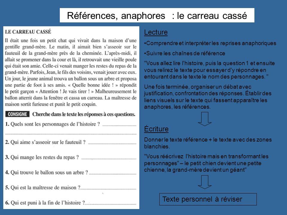 Références, anaphores : le carreau cassé Lecture Comprendre et interpréter les reprises anaphoriques Suivre les chaînes de référence