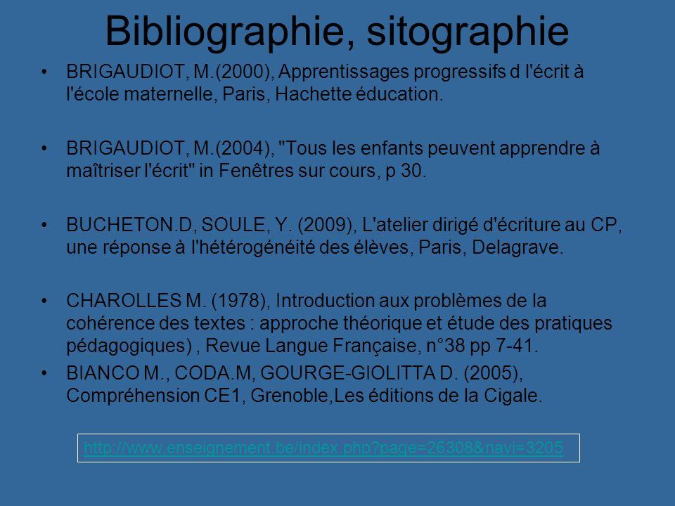 Bibliographie, sitographie BRIGAUDIOT, M.(2000), Apprentissages progressifs d l'écrit à l'école maternelle, Paris, Hachette éducation. BRIGAUDIOT, M.(