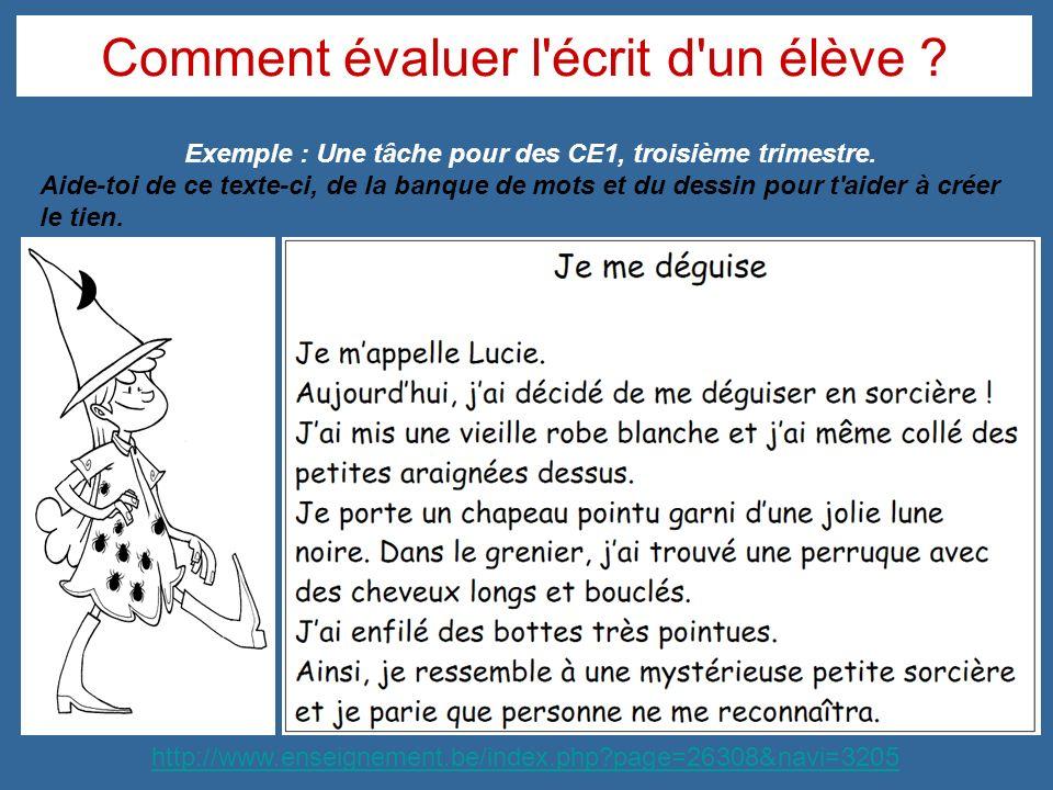 Comment évaluer l'écrit d'un élève ? Exemple : Une tâche pour des CE1, troisième trimestre. Aide-toi de ce texte-ci, de la banque de mots et du dessin