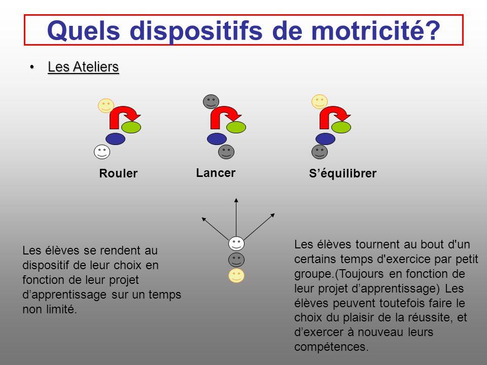 Les AteliersLes Ateliers Quels dispositifs de motricité.