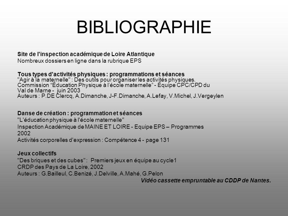BIBLIOGRAPHIE Site de l inspection académique de Loire Atlantique Nombreux dossiers en ligne dans la rubrique EPS Tous types d activités physiques : programmations et séances Agir à la maternelle : Des outils pour organiser les activités physiques.