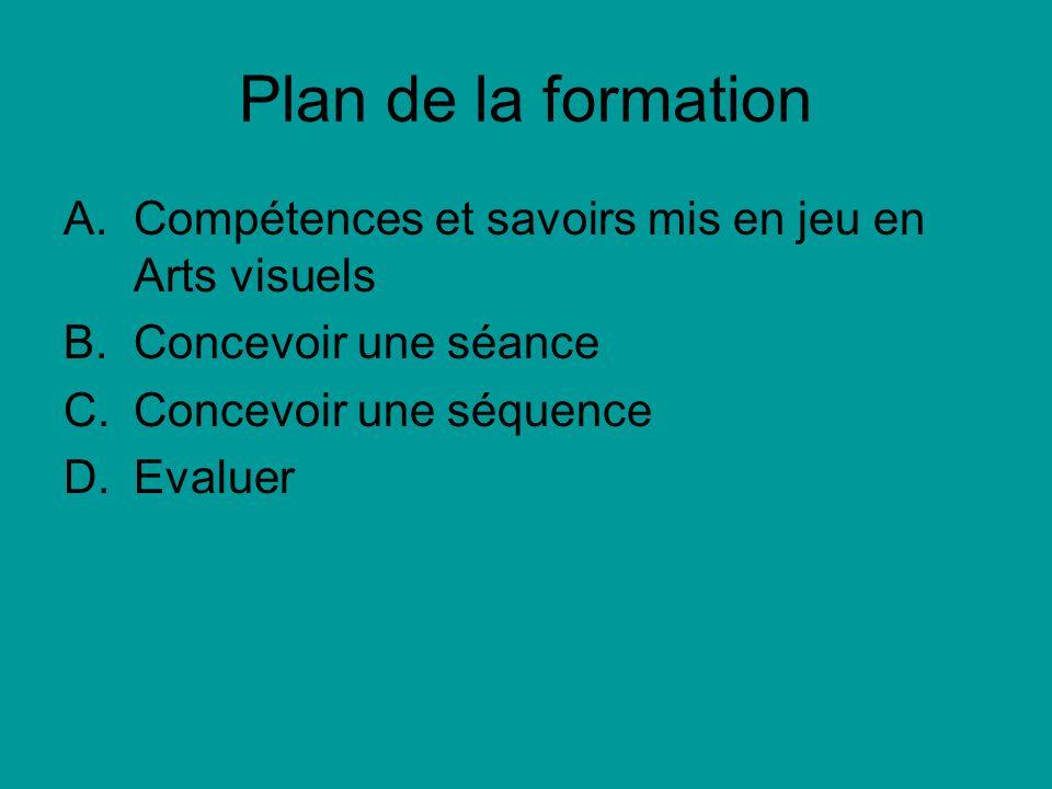 Plan de la formation A.Compétences et savoirs mis en jeu en Arts visuels B.Concevoir une séance C.Concevoir une séquence D.Evaluer
