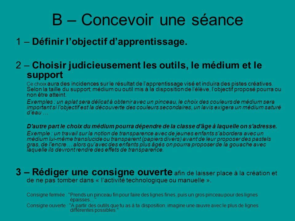 B – Concevoir une séance 1 – Définir lobjectif dapprentissage. 2 – Choisir judicieusement les outils, le médium et le support Ce choix aura des incide