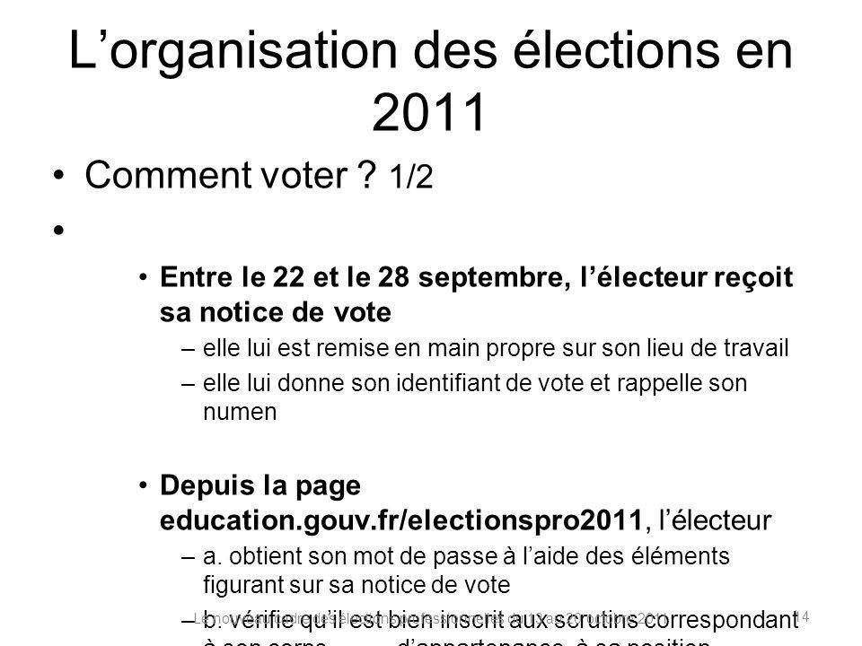 Lorganisation des élections en 2011 Comment voter ? 1/2 Entre le 22 et le 28 septembre, lélecteur reçoit sa notice de vote –elle lui est remise en mai