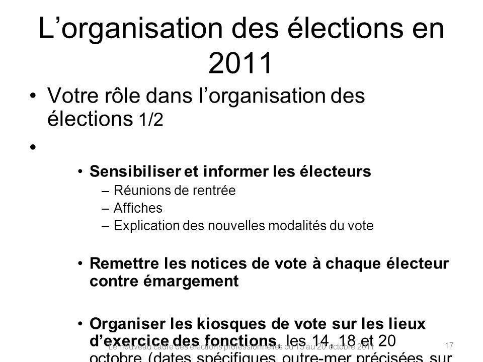 Lorganisation des élections en 2011 Votre rôle dans lorganisation des élections 1/2 Sensibiliser et informer les électeurs –Réunions de rentrée –Affic
