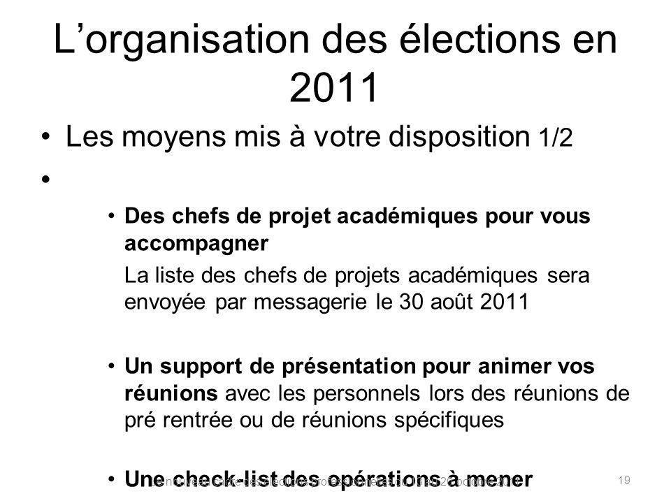 Lorganisation des élections en 2011 Les moyens mis à votre disposition 1/2 Des chefs de projet académiques pour vous accompagner La liste des chefs de