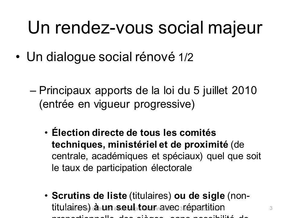 Un rendez-vous social majeur Un dialogue social rénové 1/2 –Principaux apports de la loi du 5 juillet 2010 (entrée en vigueur progressive) Élection di